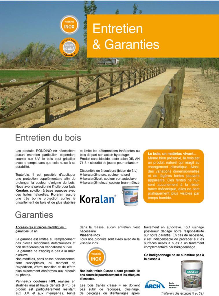 Entretien et Garantie - Aménagement Bois pour collectivités - G.Rondino - Jean-Paul Husson
